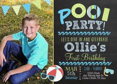 Boy Pool Birthday Printable Invitation -Pool Party Invitation, Chalk Pool Party, Photo, Pool Party, Water Party by MakinMemoriesOnPaper on Etsy https://www.etsy.com/listing/279939578/boy-pool-birthday-printable-invitation