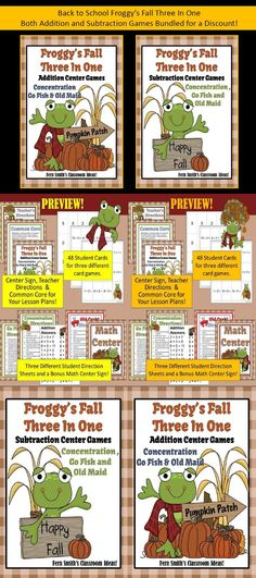 Addition and Subtraction FALL Froggy Back to School Bundled Centers perfect for Fall or Autumn, October and November. #TPT $Paid