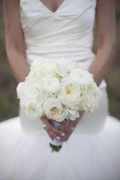 White Bouquet with Roses, Ranunculus and Hydrangeas | Country Club Flowers | Sarah Bray Photography | TheKnot.com