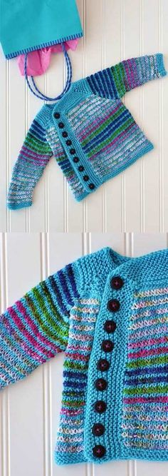 Free Knitting Patterns for Baby Cardigans Stripes - Cardigans crochet - Baby Knits Baby Cardigan Knitting Pattern Free, Beginner Knitting Patterns, Knitting For Kids, Knitting For Beginners, Knit Patterns, Clothes Patterns, Cardigan Pattern, Baby Knitting Patterns Free Newborn, Baby Sweater Patterns