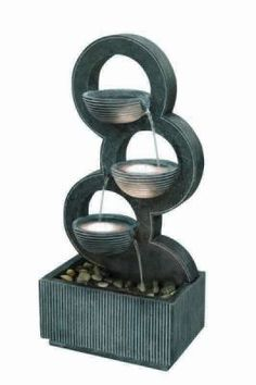 Stacked Circular Bowls Water Feature with Light
