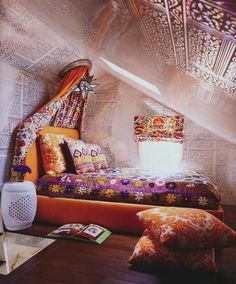 Bohemian stenciled walls the curtain over the bed , make this for window