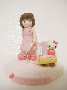 Customized Handmade Hello Kitty Birthday Cake Topper / Hello Kitty Figurine / Hello Kitty Gift Idea