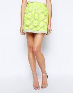 Karen Millen neon lace skirt