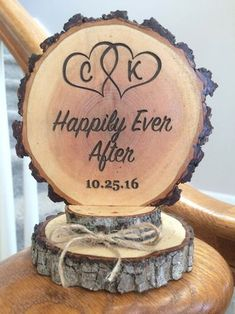 Happily Ever After Cake Topper Rustic Wedding by SweetHomeWoods