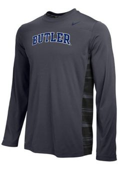 Go the distance in this campus Warp Speed Legend t-shirt. Long sleeve, performance t-shirt features Dri-Fit technology that wicks moisture away, a two-tone warp speed pattern on the side, and the school initials screen-printed on the front. Get it at the Butler Bookstore!