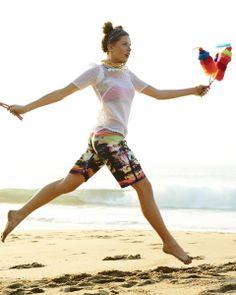 Let a bright, cute bikini top peek through a sporty mesh top! Seventeen Magazine/Photographer: Anne Menke; Stylist: Annebet Duvall; Hair/Makeup: Moiz; Model: McKenna; Location: Revolucion Del Sueno