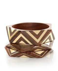 Angle of the Morning Brown and Gold Bangle Set  - Click Image to Close