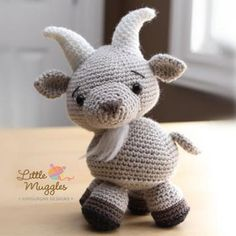 Gordy the billy goat amigurumi pattern by Little Muggles