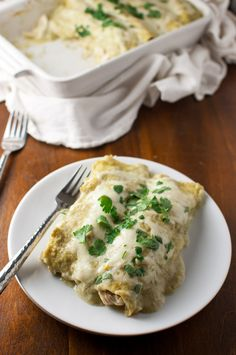 Chicken enchiladas smothered in cheese and a creamy homemade tomatillo sauce Top Recipes, Sauce Recipes, Great Recipes, Chicken Recipes, Cooking Recipes, Favorite Recipes, Chicken Meals, Rotisserie Chicken, Easy Recipes