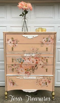 Beautiful large vintage chest of drawers painted with Sweet Pickins milk paint in just peachy with flour sack on details and DIY golden ticket on hardware and front legs.  Prima Re-design rose celebration transfer.  Sealed with Sweet Pickins oil wax in clear. Coral Painted Furniture, Milk Paint Furniture, Decoupage Furniture, My Furniture, Repurposed Furniture, Furniture Makeover, Vintage Furniture, Refinished Furniture, Vintage Chest Of Drawers