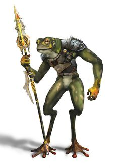 Tulh warrior, a humanoid with the basic appearance of a frog wielding a futuristic Fantasy Races, High Fantasy, Fantasy Rpg, Fantasy Monster, Monster Art, Dnd Characters, Fantasy Characters, Dungeons E Dragons, D D Races