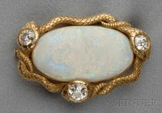 Antique 14kt Gold, Opal, and Diamond Brooch | Sale Number 2610B, Lot Number 553 | Skinner Auctioneers