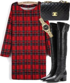 plaid dress and tall boots LOVE