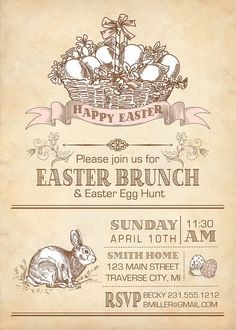 Vintage Easter Invitation  Printable Easter by AnnounceItFavors, $15.00