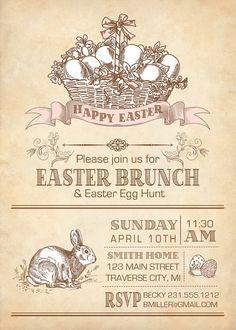 Vintage Easter Invitation - Printable Easter Brunch Invitation