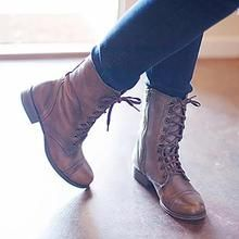 92732002974 Women PU Booties Casual Comfort Lace Up Wedge Shoes