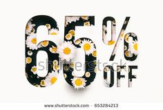 65% off discount promotion sale Brilliant poster, banner, ads. Precious Paper cut with real daisy flowers and leaves. For your unique selling poster / banner promotion offer percent discount ads.