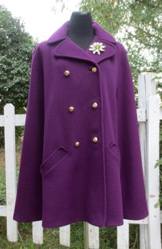 Vintage 1960's Woman's Mod Purple Wool Cape by delilahsdeluxe, $67.50