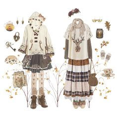 """cinnamon–tea: """" Autumn mori by cinnamontea """" Mori Fashion, Cute Fashion, Fashion Outfits, Polyvore Outfits, Aesthetic Clothes, Cute Outfits, My Style, Witchy Clothing, Soft Heart"""