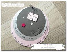 Le joli faire-part rond gris et rose de Charlie sur le thème des étoiles