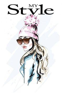 Ручной рисунок моды женщина в вязаной шляпе с помпоном меха. Стильный портрет молодой женщины. Симпатичная девушка в зимней одежде. Рисунок . — стоковая иллюстрация Woman Illustration, Cool Art Drawings, Print Wallpaper, Cow Print, Illustrations, Female Portrait, Fashion Sketches, Cute Girls, Knitted Hats