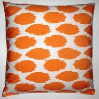 OC029 Cheeky Ikat Print Tangerine organic cotton pillow cover. Eco friendly pillow