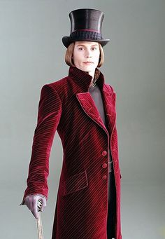 Johnny Depp as Willy Wonka in Charlie and the Chocolate Factory. Costumes by Gabriella Pescucci.