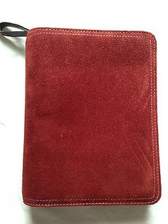 Franklin Covey Compact Orange/Spice Suede Leather Zipper Binder Planner Pretty!