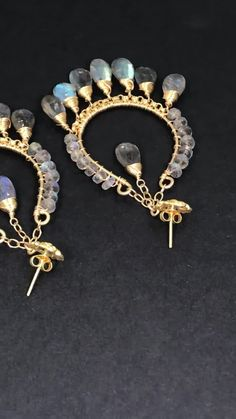 Top quality labradorite briolettes and rondelles, loaded with blue flash, every one of them, are wire wrapped to dangle from handmade gold chandelier earrings by Doolittle Jewelry Gold Chandelier Earrings, Cluster Earrings, Gold Hoop Earrings, Gemstone Earrings, Dangle Earrings, Labradorite Jewelry, Dainty Earrings, Special Deals, Boho Necklace