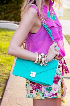 Fashion Outfit : Spring #ootd #style  Love all the bright colors! // Fashion outfits