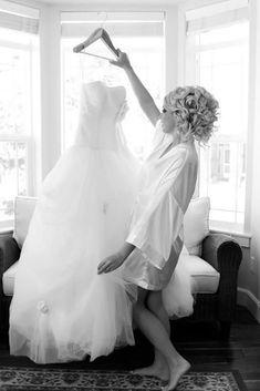 Pre-Wedding Shots: Hanging Wedding Dress ❤ See more: http://www.weddingforward.com/hanging-wedding-dress/ #weddingforward #bride #bridal #wedding