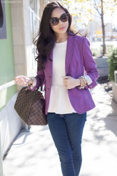 Feminine Touches with pink peplum and purple blazer