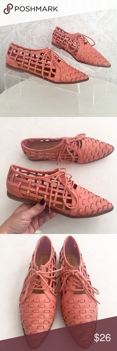Coconuts woven leather lace-up Oxfords So fun, so funky! Coconuts brand by Matisse. Salmon (coral, maybe?) colored faux leather, although you'd never know its faux. Open at sides and closed in front. Lace up. Tonal laces and tonal stitching. Pointed toe. Faux leather sole with teeny stacked heel. NWT; never worn and in original box. Coconuts  Shoes Flats & Loafers