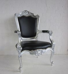 62 best colour trend silver furniture images silver furniturenew italian high back easy chair painted silver and upholstered in black leather