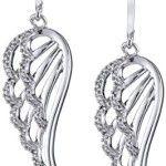 10k White Gold Angel Wings Diamond Dangle Earrings (1/5 cttw)