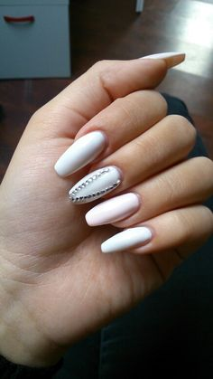 White and pink coffin nails