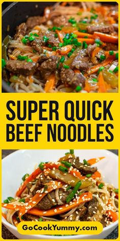 Looking on how to make Quick and easy Beef Noodles at home? I have a great asian recipe for you that requires very little preparation. Great side dish if you want to cook something quick and delicious. It's so much better than takeout. #beefnoodles #quickrecipe #homemade #gocookyummy #noodles #pasta Best Brunch Recipes, Dinner Recipes Easy Quick, Quick Meals, Asian Recipes, Beef Recipes, Cooking Recipes, Fast Healthy Meals, Healthy Recipes, Most Delicious Recipe