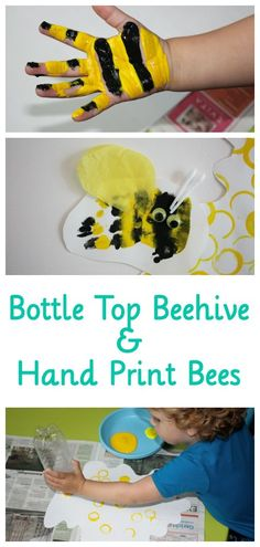 Bottle Top Painted Bee Hive with Hand Print Bees. This is such a sweet kids craft if you are interested in bees and insects!