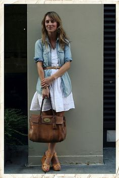Belted chambray shirt (longer skirt please!)