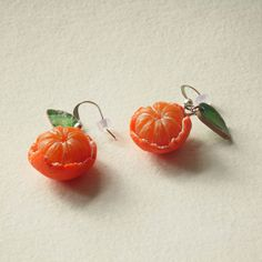 Funky Earrings, Orange Earrings, Diamond Earrings, Earrings Handmade, Pomegranate Earrings, Fabric Earrings, Garnet Earrings, Diy Earrings, Flower Earrings