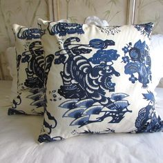 LAST PAIR made with an exquisite fabric by Design Legacy off whita linen back invisible zipper thanks for looking Long Pillow, Bolster Pillow, Throw Pillows, British Colonial Bedroom, Blue Dragon, Cotton Velvet, Velvet Pillows, Decorative Pillow Covers, Red Stripes