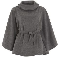 Womens grey fever fish grey tweed belted cape from Dorothy Perkins - £35 at…