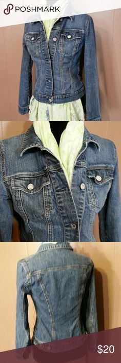New York  & co Jean jacket sz small mint Awesome faded denim Jean jacket. Sz small. No damage. Excellent . White washed buttons stamped new York  and co. New York & Company Jackets & Coats Jean Jackets