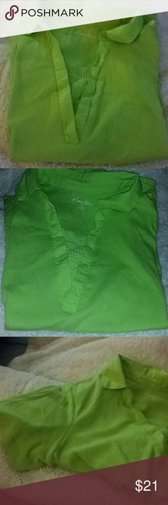 SZ 1X KIM ROGERS LIME COLORED SHIRT SHORT SLEEVE Very nice decorative front neckline with cola in a lime green. Hangs just below hips, short sleeves, super soft. Casual or dressy!  Thanks for visiting my closet! Come again soon! Make me an offer! I love offers! I need offers please! Kim Rogers Tops