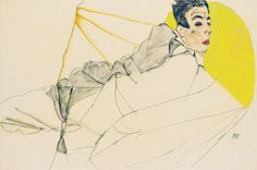 Egon Schiele, Liegender Knabe (Erich Lederer), 1913.Watercolor. ©Leopold Museum. Vienna. Erich, here 15 years old, was the son of Schiele's patron August Lederer and became one of the most important collectors of Schiele's artwork.