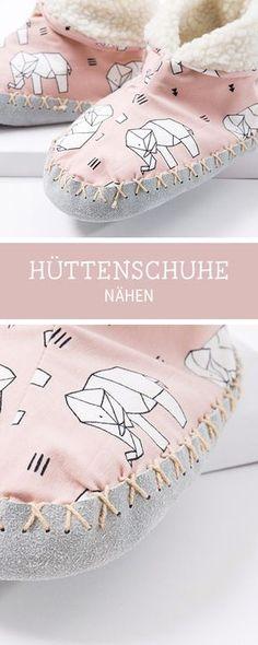 Nähanleitung für kuschelige Hüttenschuhe für die Winterzeit, Videoanleitung Nähen / sewing pattern and video tutorial for comfy slipper socks via DaWanda.com
