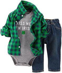 http://Amazon.com: Carter's Unisex Baby 2 Piece St. Patrick's Day Bodysuits/Bib Set (Baby) - White: Clothing