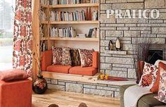 Coin lecture sympa au salon. Bibliothèque et banquette toutes simples. Decoration, Bookcase, Bench, Shelves, Storage, Interior, Images, Inspiration, Furniture
