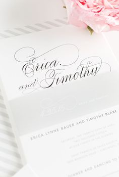 Calligraphy Wedding Invitations with a Gray Striped Envelope Liner
